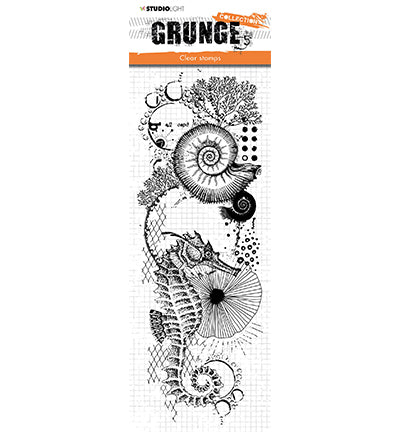 Studio Light, Grunge Clear Stamps Collection, Seahorse