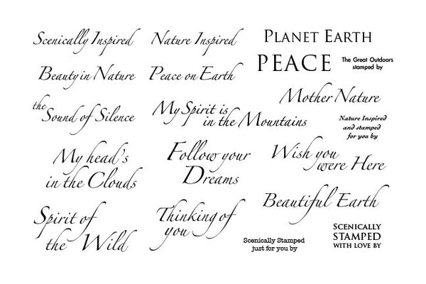 The Stampscapes® Scenic Sentiment Sheets, Cling Foam, Sentiments Sheet 7 (Inspired, Peace) - Scrapbooking Fairies
