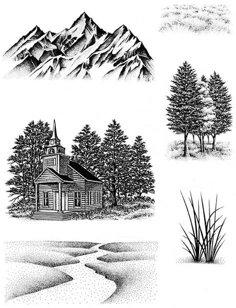 Stampscapes, Nature Sheet 7 (Country Chapel) - Scrapbooking Fairies