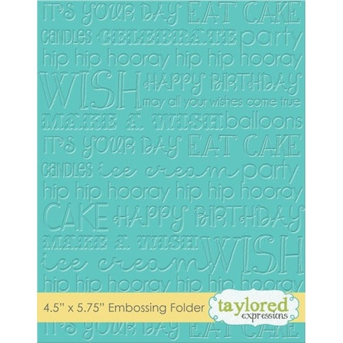 "Taylored Expressions, Embossing Folder 4.5""X5.75"" Graphic Impressions, Birthday"