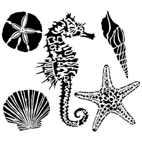 The Crafters Workshop, Stencil, 6x6, Mini Sea Creatures - Scrapbooking Fairies