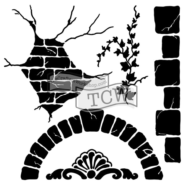 The Crafters Workshop,  Stencil, 6x6, Tuscan Wall - Scrapbooking Fairies