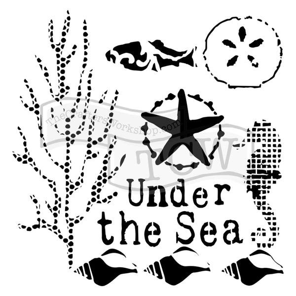 The Crafters Workshop, 6x6 Stencil, Mini Under the Sea - Scrapbooking Fairies