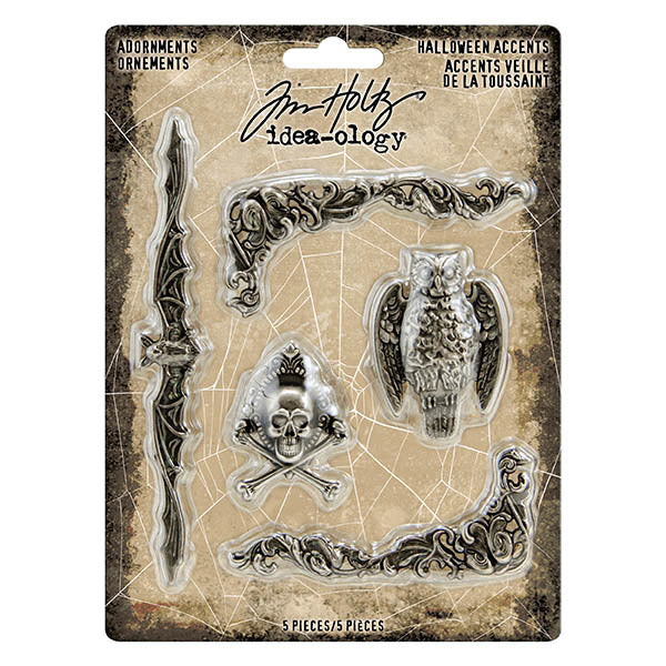 Tim Holtz, Idea-Ology Metal Adornments 5/Pkg Antique Nickel Halloween Accents