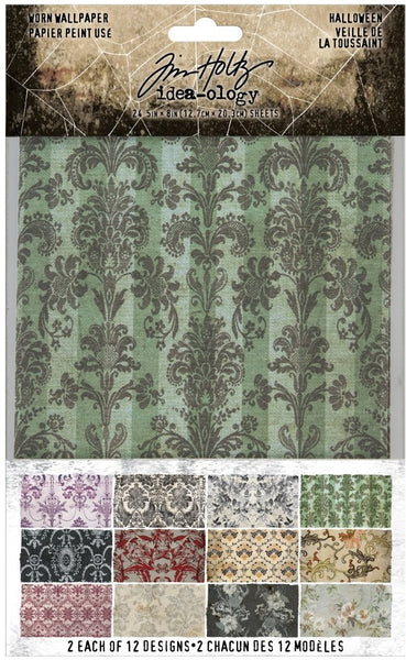 "Tim Holtz Idea-Ology, Worn Wallpaper 5""X8"" 24/Pkg,"