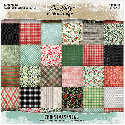 "Tim Holtz Idea-Ology Paper Stash Double-Sided Paper Pad 8""X8"" 24/Pkg, Christmas, 12 Designs/2 Each"