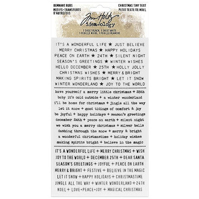 "Tim Holtz Idea-Ology Remnant Rubs Rub-Ons 4.75""X7.75"" 2/Pkg, Christmas Tiny Text"