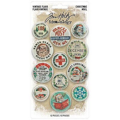 "Tim Holtz Idea-Ology Flair 12/Pkg, Christmas, 1"" To 1.5"""