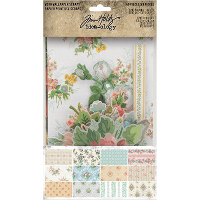 Tim Holtz Idea-Ology, Worn Wallpaper, Scraps, 49/Pkg
