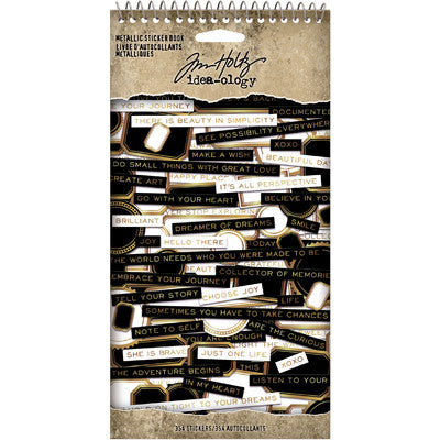 "Tim Holtz, Idea-Ology Spiral Bound Sticker Book 4.5""X8.5"", Metallic"