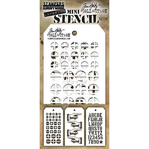 Tim Holtz, Mini Stencil Set 29 - Scrapbooking Fairies