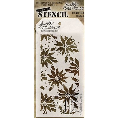 "Tim Holtz Layered Stencil 4.125""X8.5"", Poinsettia"
