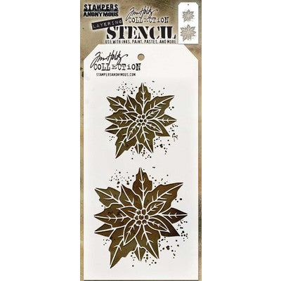 "Tim Holtz Layered Stencil 4.125""X8.5"", Poinsettia Duo"