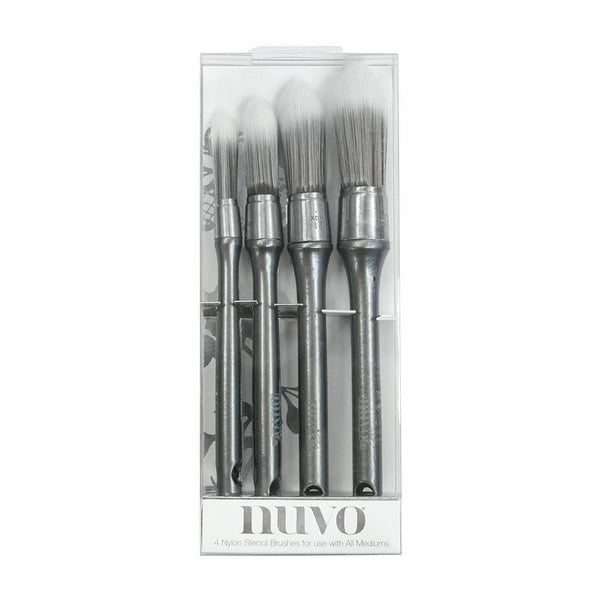 Nuvo Stencil Brushes 4/Pkg