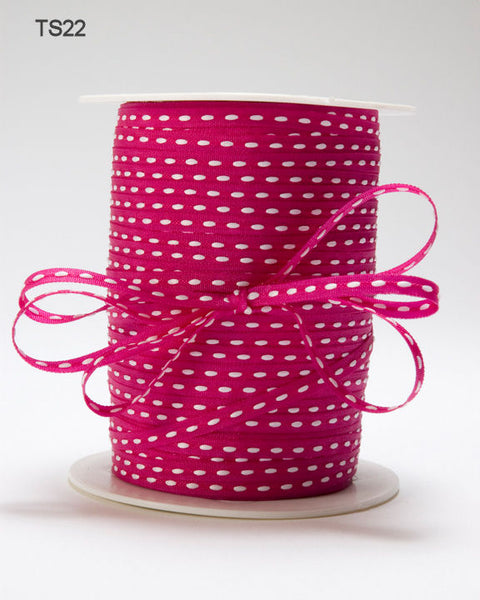 1/8 Inch Solid Stitched Center Ribbon, Fuchsia - Scrapbooking Fairies