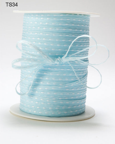 1/8 Inch Solid Stitched Center Ribbon, Light Blue - Scrapbooking Fairies