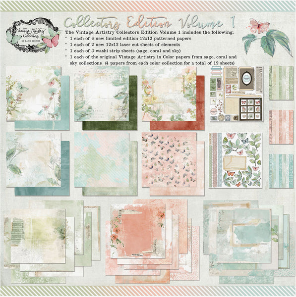 "49 And Market Collection Pack 12""X12"", Vintage Artistry In Color Vol. 1"