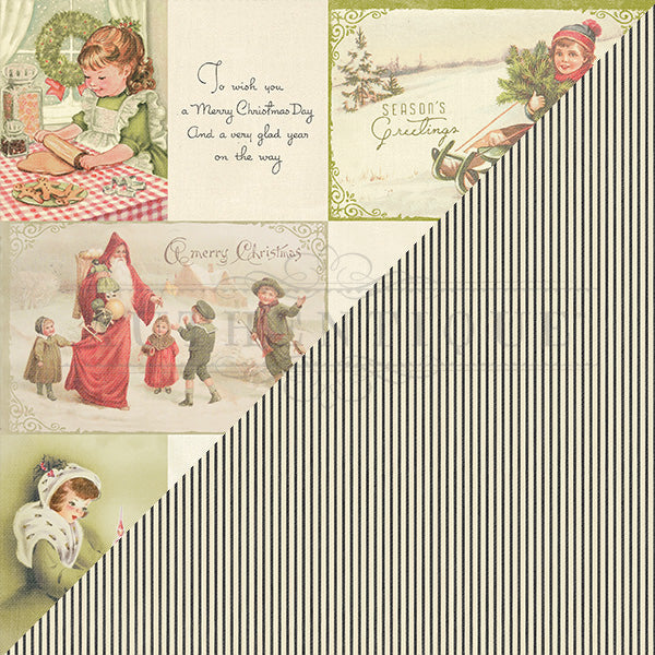 Authentique, Vintage Christmas , Theme 11 - Doublesided Paper - Scrapbooking Fairies