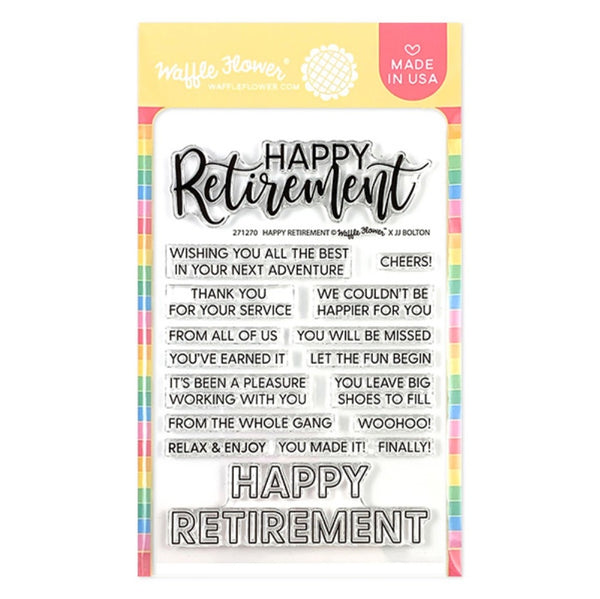 "Waffle Flower Crafts Clear Stamps 4""X6"", Happy Retirement"