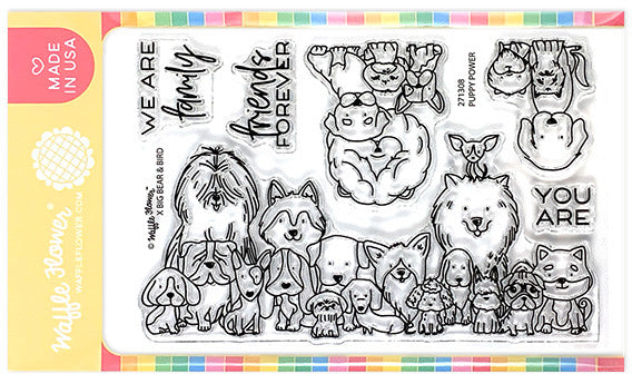 "Waffle Flower Crafts Clear Stamps 4""X6"", Puppy Power"