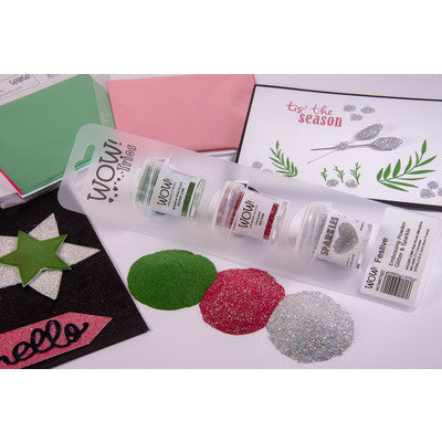 WOW! Embossing Powder Trio, Festive (Kiwi Krush Metalline, Carousel, A Girls Best Friend)