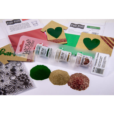 WOW! Embossing Powder Trio, Christmas Cracker (Primary Evergreen, Metallic Gold Sparkle, Oh Gosh!)
