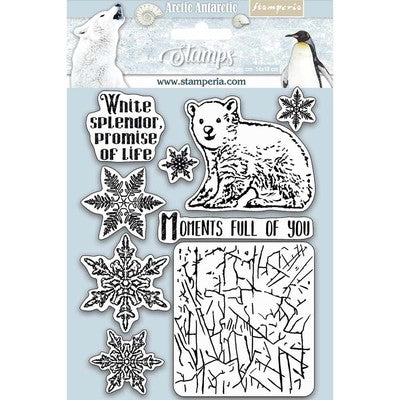 "Stamperia Cling Rubber Stamp 5.5""X7"", Moments Full Of You, Arctic Antarctic"