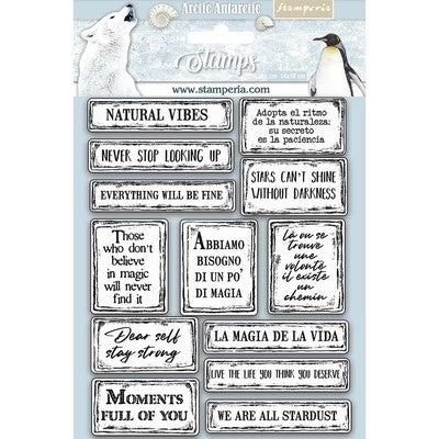 "Stamperia Cling Rubber Stamp 5.5""X7"", Quotes, Arctic Antarctic"