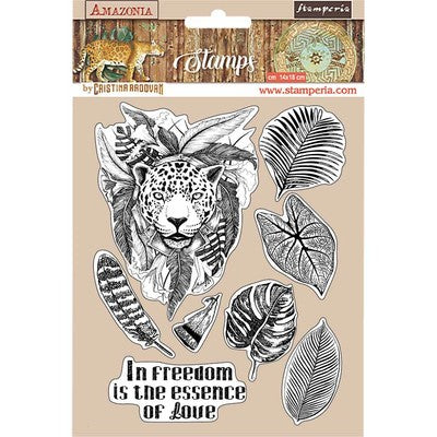 "Stamperia, HD Natural Rubber Stamp, 5.5""X7"", Jaguar, Amazonia"