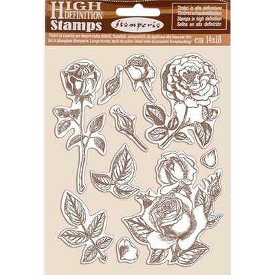 "Stamperia, HD Natural Rubber Stamp, 5.5""X7"", Rose - Passion"