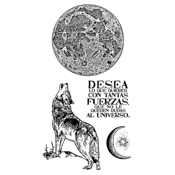 "Stamperia Cling Stamp 3.94""X6.5"", Cosmos Wolf"