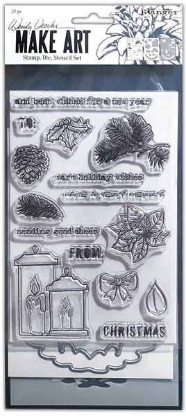 Wendy Vecchi Make Art Stamp, Die & Stencil Set, Warm Wishes