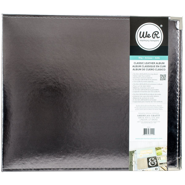 "We R Memory Keepers, We R Classic Leather D-Ring Album 12""X12"", Silver"