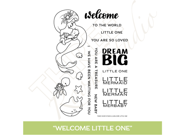 "Three Room Studio, ""Welcome Little One"" Clear Stamp Set"