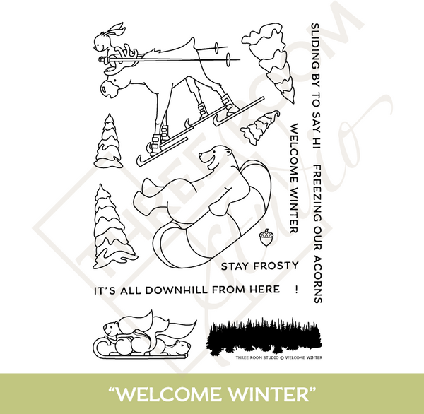 "Three Room Studio, ""Welcome Winter"" Clear Stamp Set"