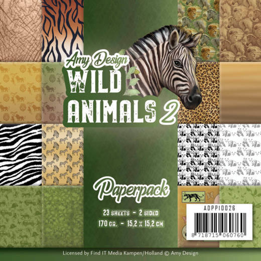 "Find It Trading Amy Design Paper Pack 6""X6"" 23/Pkg, Wild Animals 2, Double-Sided"