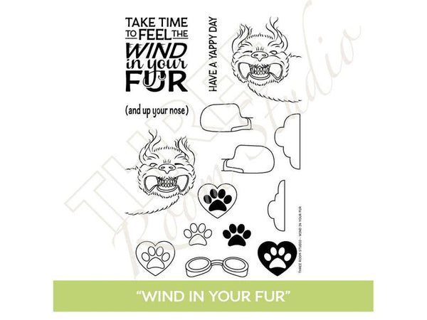 "Three Room Studio, ""Wind in Your Fur"" Clear Stamp Set"