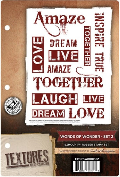 Crafter's Companion, Textures Artist Collection, Words of Wonder - Set 2, EZmount Rubber Stamps Set