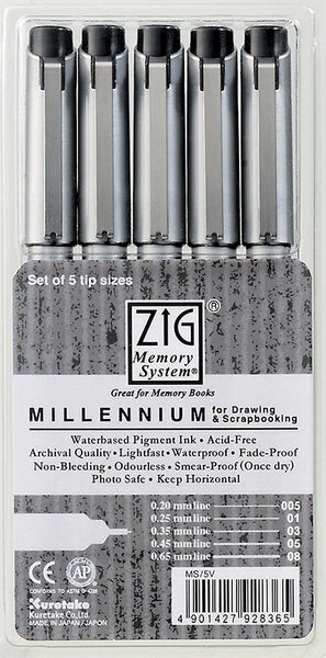 ZIG, Millennium Markers, 5pc/pkg - Assorted Tips (all black) - Scrapbooking Fairies