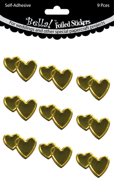 Bella! Wedding Hearts Foil Stickers 9/Pkg, Gold