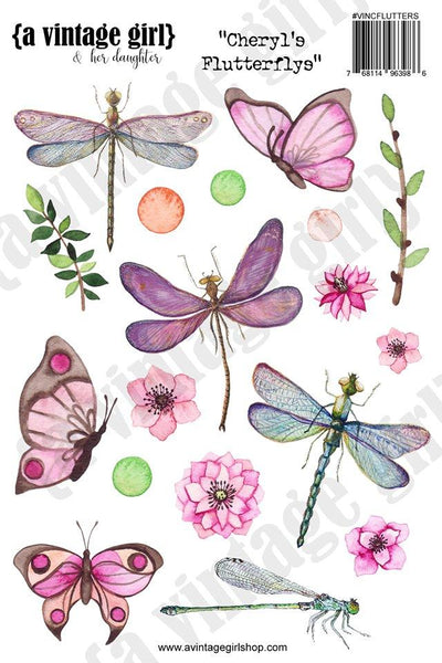A Vintage Girl & her daughter, Cheryl's FlutterFlys Sticker Set