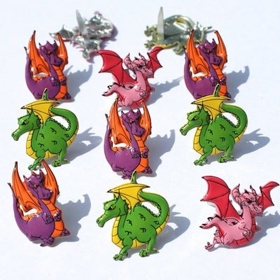 Shape Brads 12/Pkg, Dragon