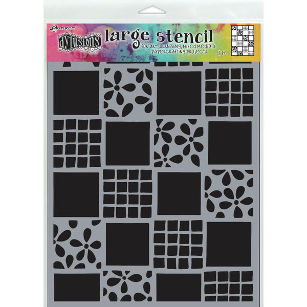 "Dyan Reaveley's Dylusions Stencils 9""X12"", Sqaure Dance, Large"