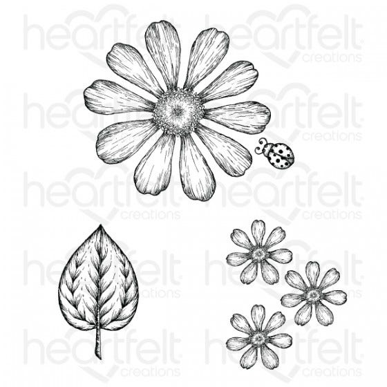 Heartfelt Creations Cling Rubber Stamp Set, Large Garden Zinnia