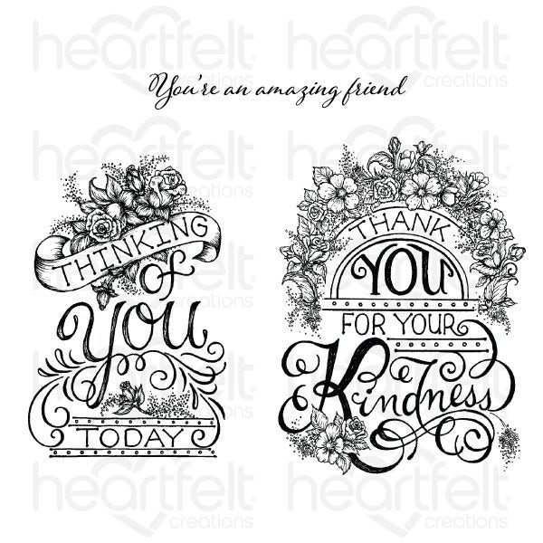 Heartfelt Creations Cling Rubber Stamp Set, Elegant Gateway Sentiments