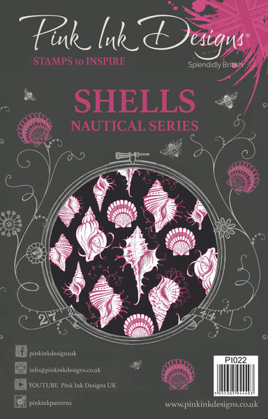 Pink Ink Designs, A5 Clear Stamps Set, Shells