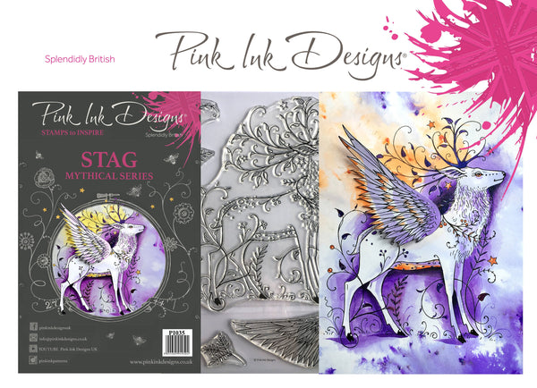 Pink Ink Designs A5 Clear Stamp, Stag, Mythical Series
