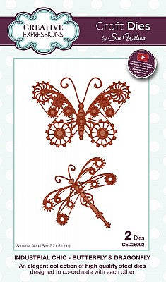 Creative Expressions, Sue Wilson Industrial Chic Dies, Butterfly & Dragonfly - Scrapbooking Fairies