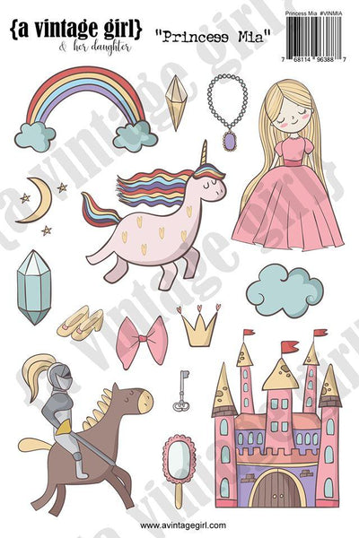 A Vintage Girl & her daughter, Princess Mia Sticker Set