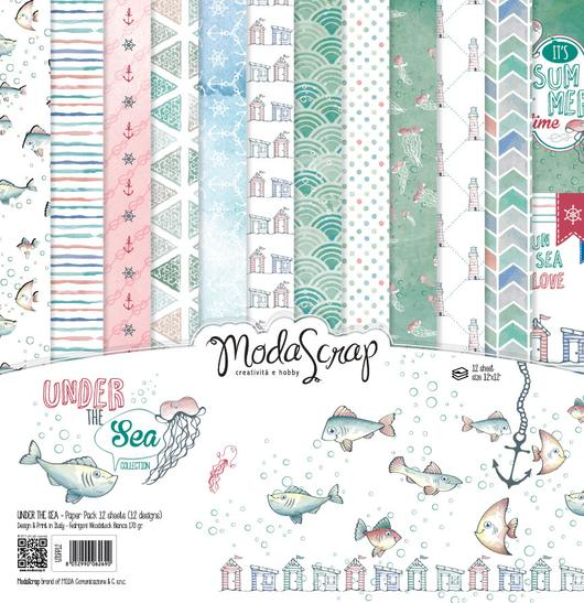 "Elizabeth Craft ModaScrap Paper Pack 6""X6"" 12/Pkg, Under The Sea - Scrapbooking Fairies"